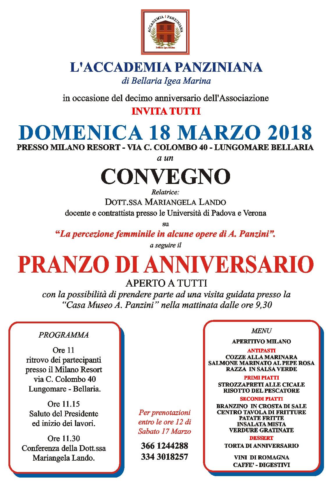 18 marzo: convegno e pranzo di anniversario per i 10 anni dell'Accademia Panziniana